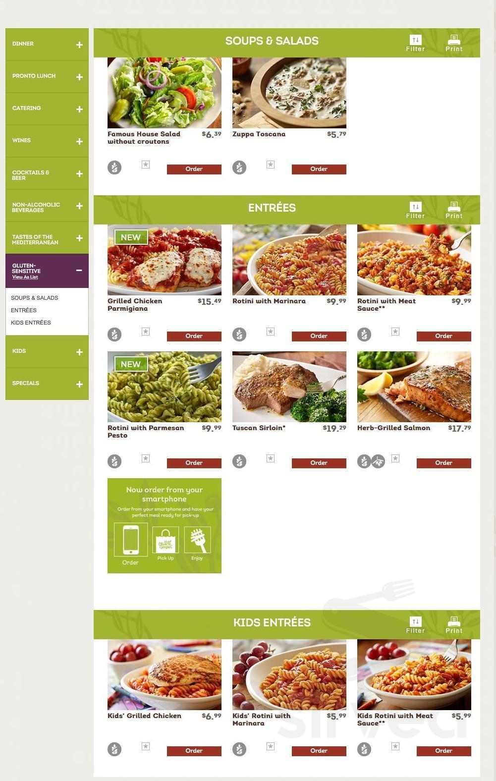 Olive Garden Italian Restaurant Menu In Dubuque Iowa