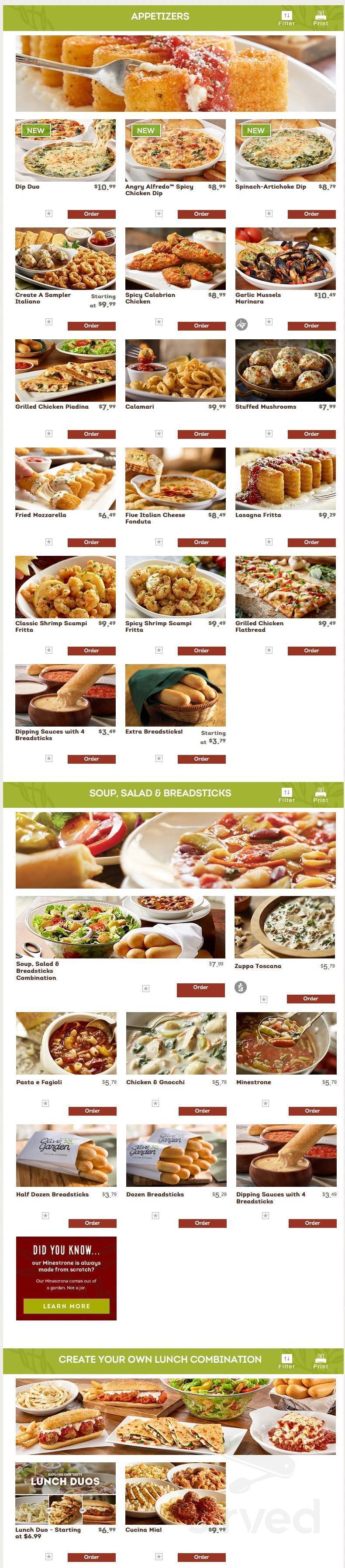 Olive Garden Italian Restaurant Menu In Huntsville Texas