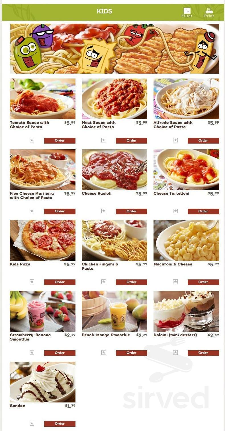 Olive Garden Italian Restaurant Menu In Schaumburg Illinois
