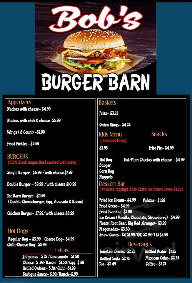 Bob S Burger Barn Menu In Pipe Creek Texas Usa