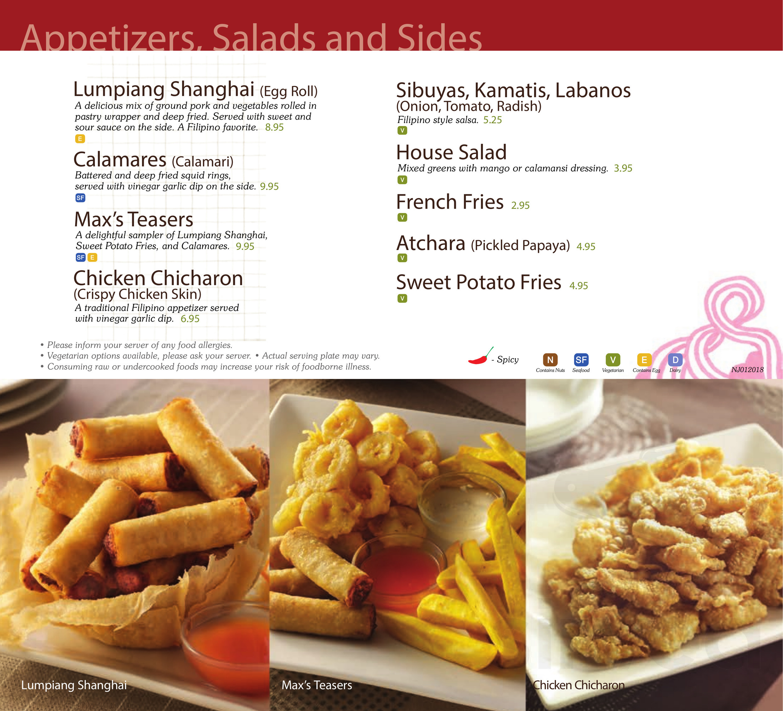 Menu For Max S Restaurant Cuisine Of The Philippines In Las
