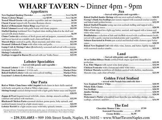 Menu for Wharf Tavern Restaurant & Lobster House in Naples