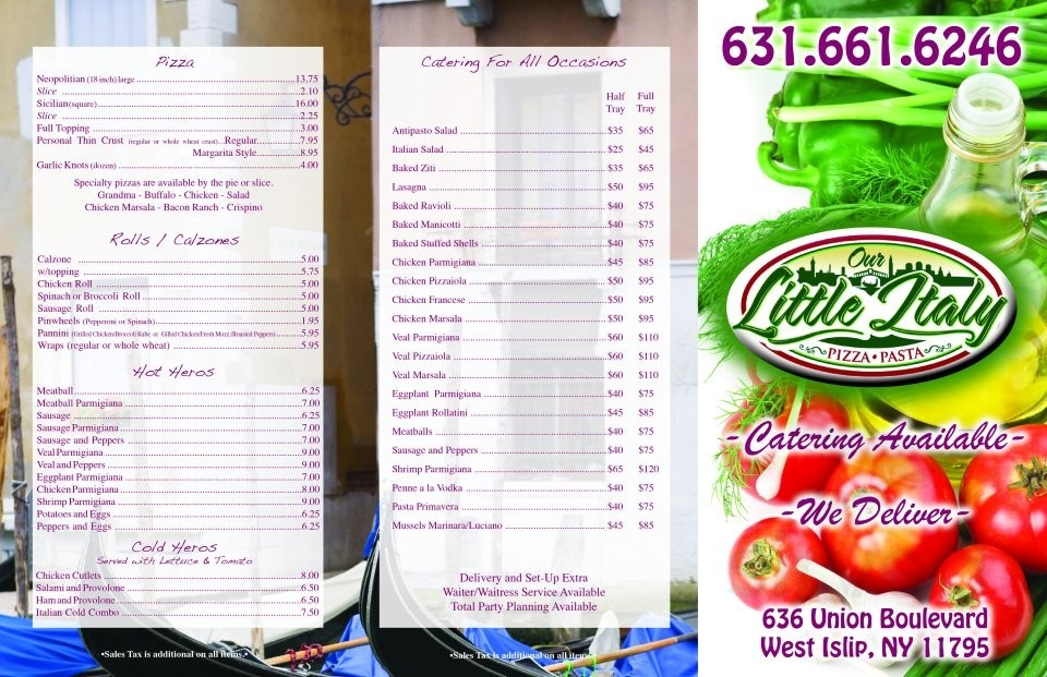 Our Little Italy Pizza & Pasta menu in West Islip, New York