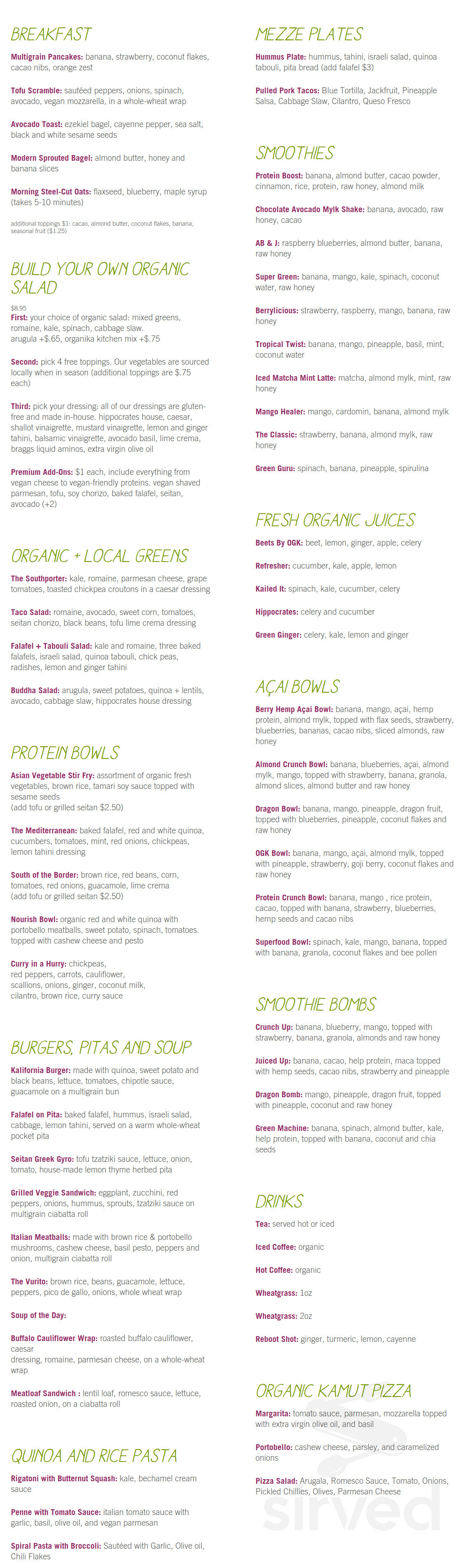 Greenology Menu In New Canaan Connecticut Usa