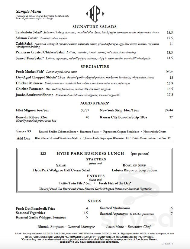Hyde Park Pittsburgh >> Menu For Hyde Park Prime Steakhouse In Pittsburgh Pennsylvania