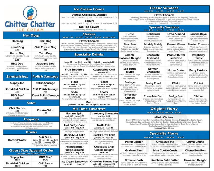 Chitter Chatter Ice Cream menu in Holland, Ohio, USA