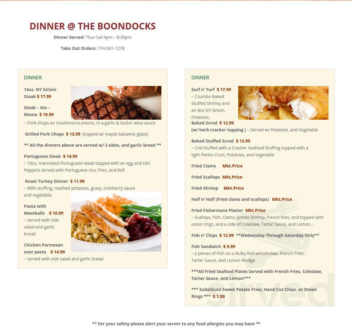The Boondocks menu in Berkley, Massachusetts, USA