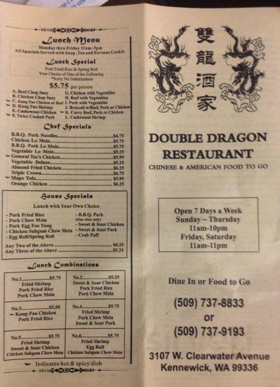 Double Dragon Restaurant Menu In Kennewick Washington