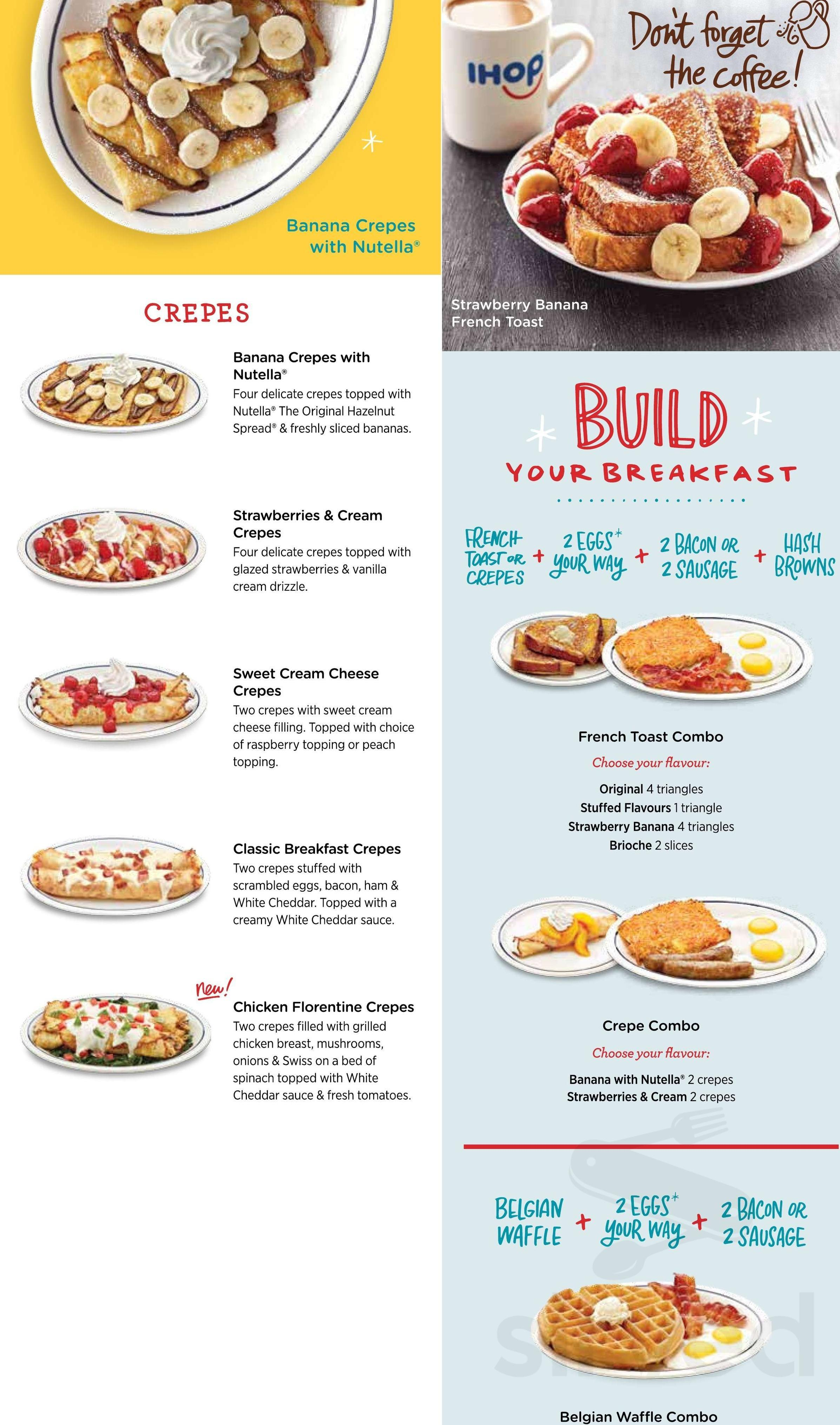 Menu for IHOP in New Westminster, British Columbia, Canada