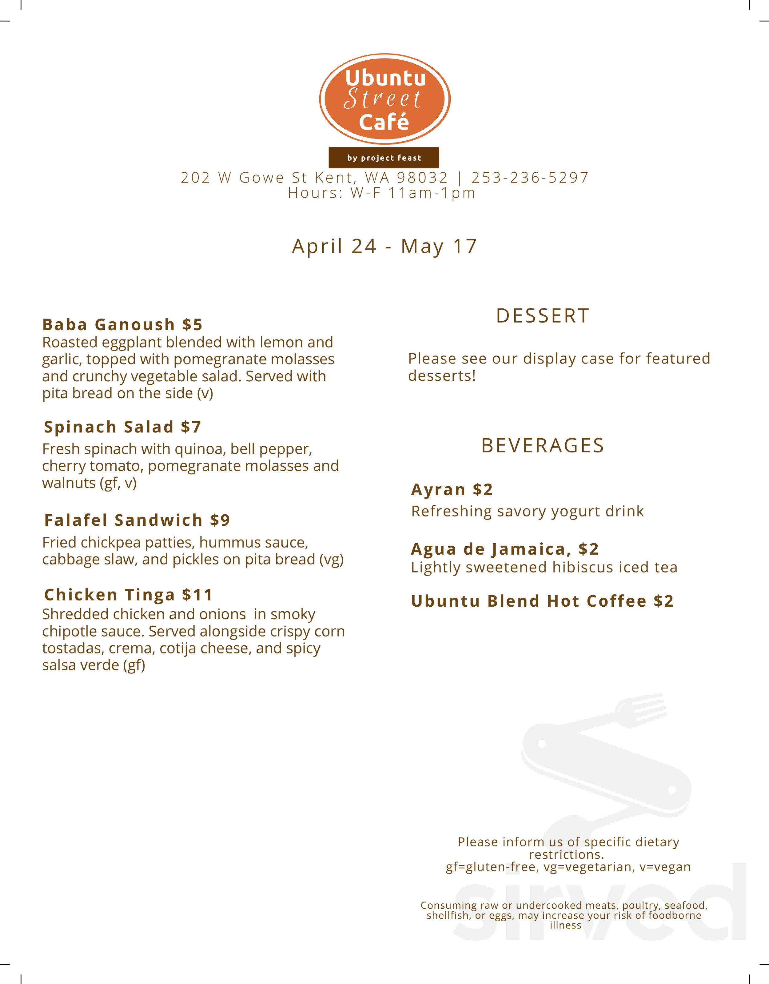 Menu for Ubuntu Street Cafe & Catering by Project Feast in