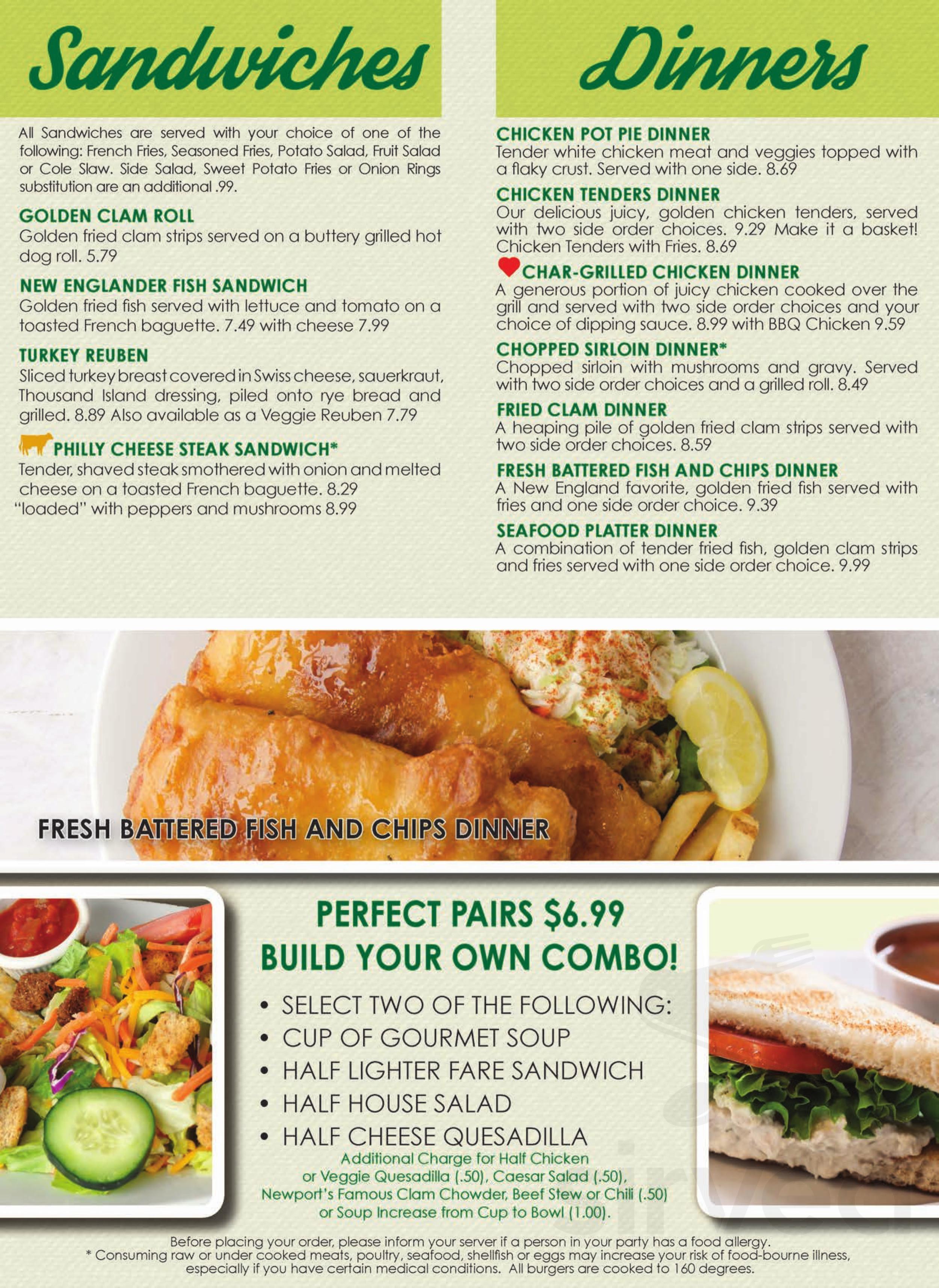 Newport Creamery menu in Fall River, Massachusetts, USA