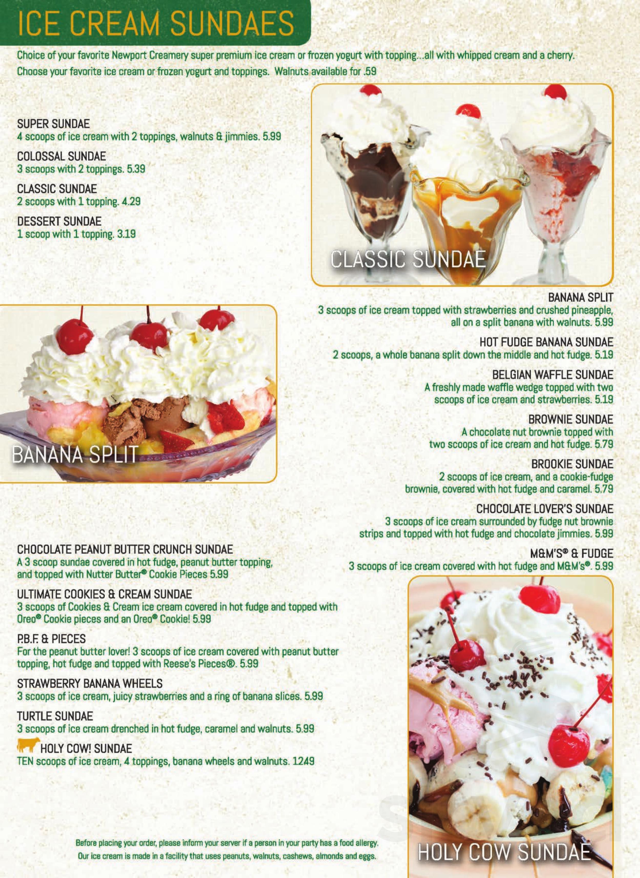 Newport Creamery menu in Seekonk, Massachusetts, USA