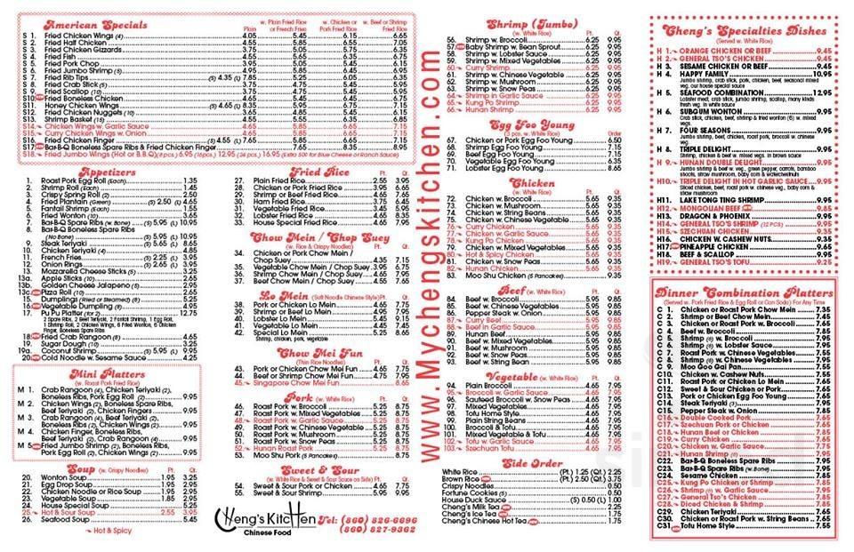 Cheng S Kitchen Chinese Restaurant Menu In New Britain Connecticut