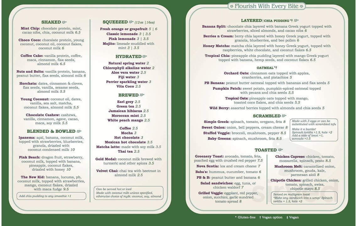 The Greenery Juice Bar and Café menu in Brick, New Jersey