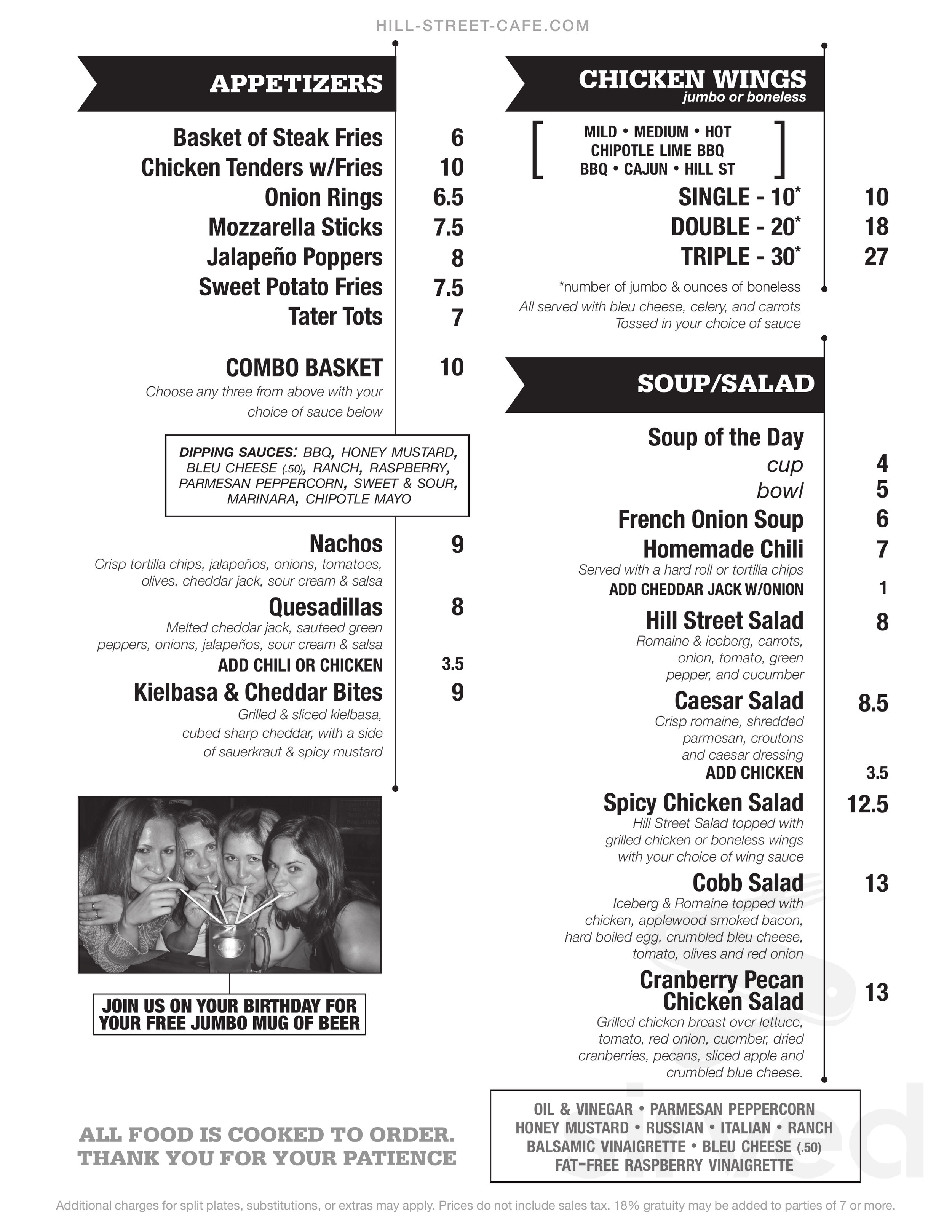 Hill Street Cafe Menu In Albany New York Usa
