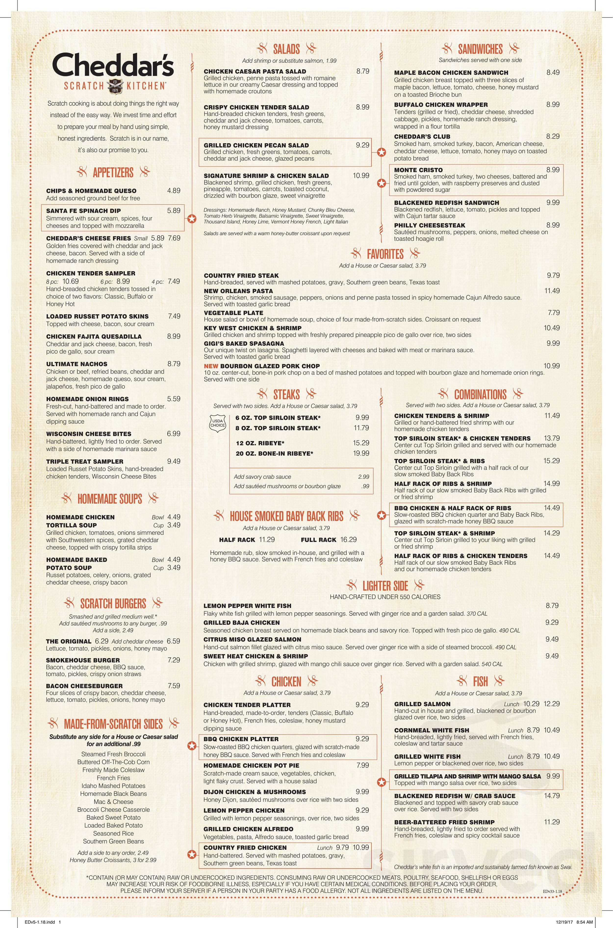 Cheddar S Scratch Kitchen Menu In Bloomington Indiana Usa