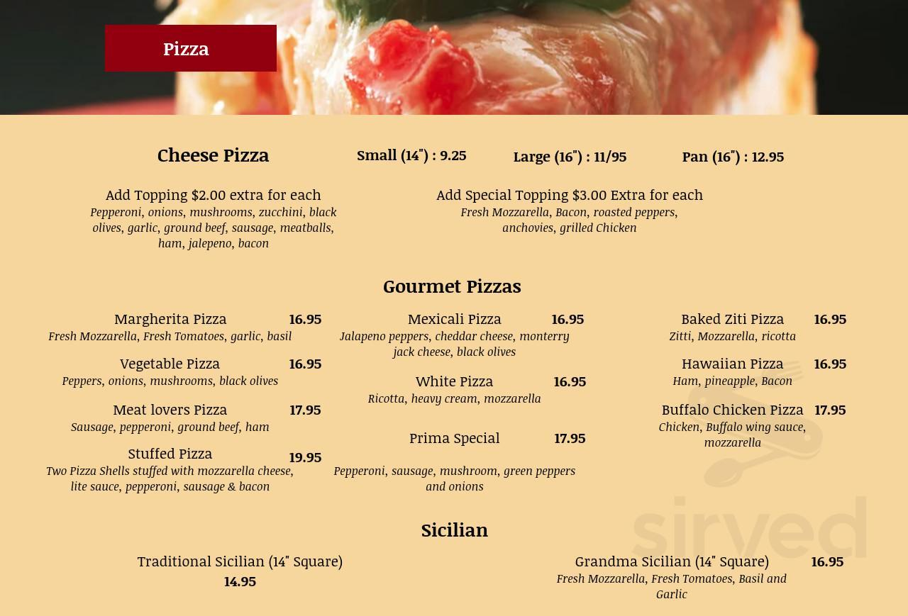 Prima Pizza Menu In Somerville New Jersey Usa