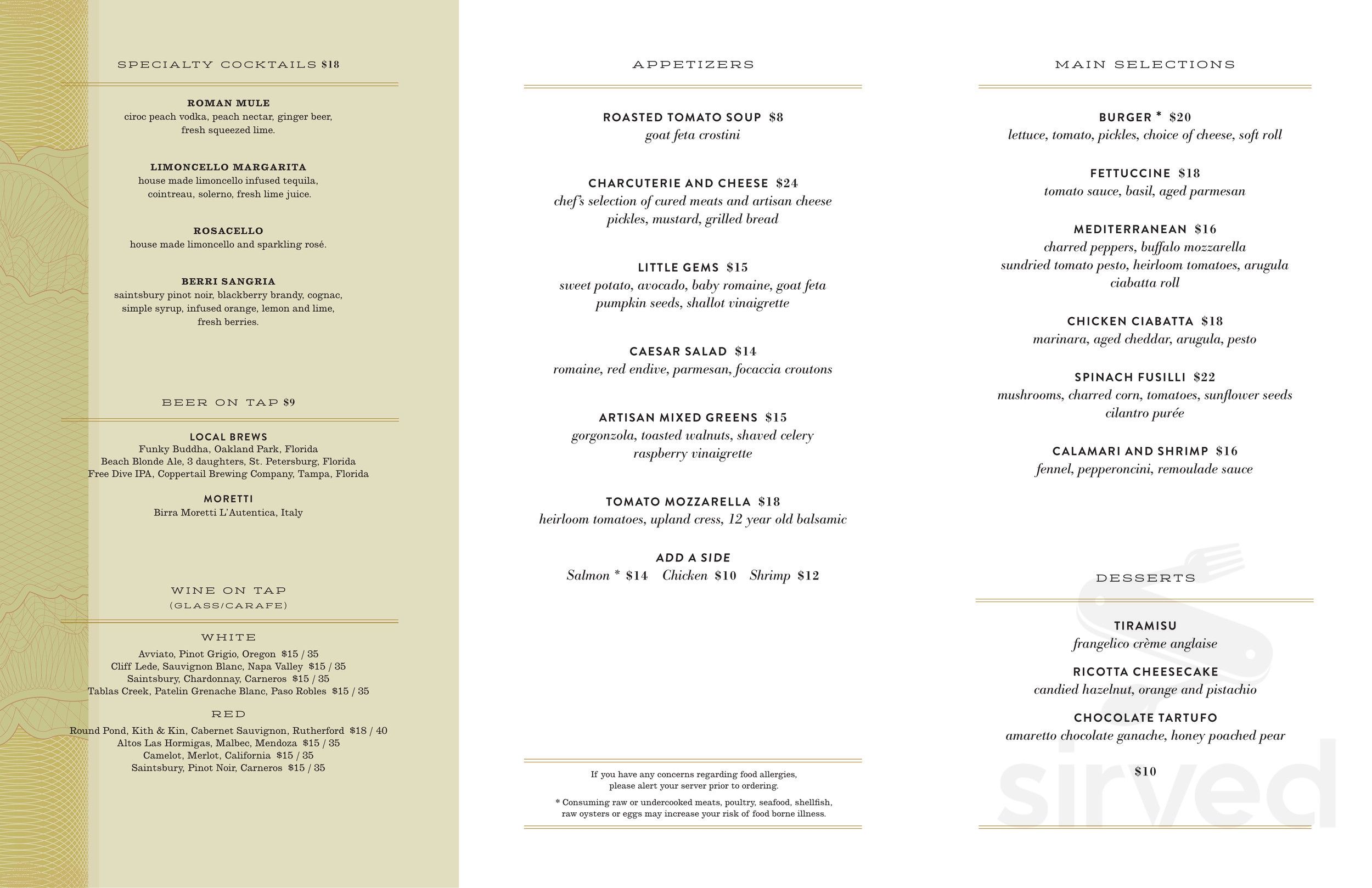 Menu For Terrazza The Ritz Carlton Naples In Naples Florida