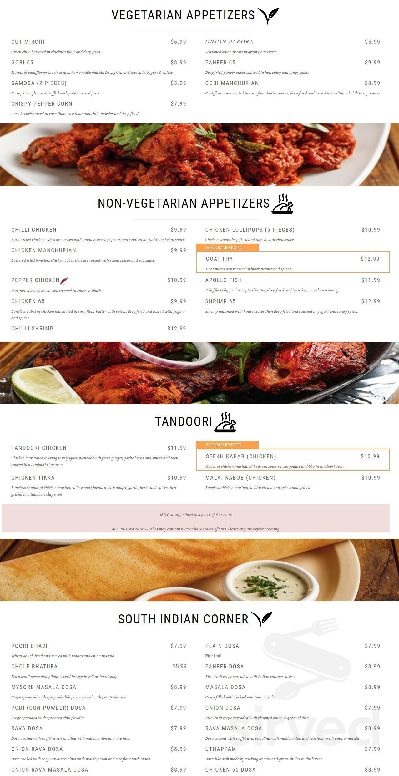 Menu For Tru India Restaurant In Webster Texas Usa