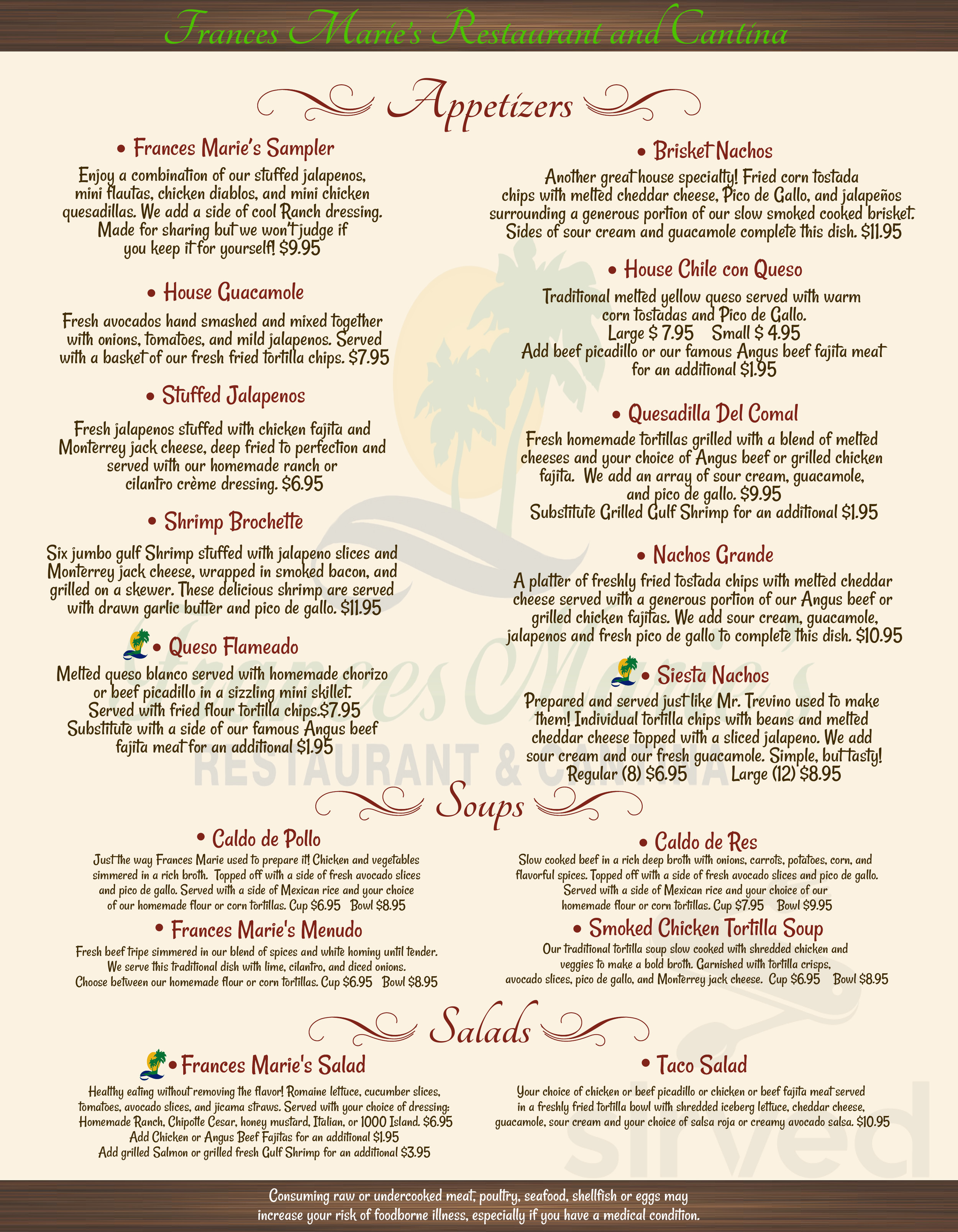 Frances Marie S Restaurant Cantina Menu In Victoria Texas Usa