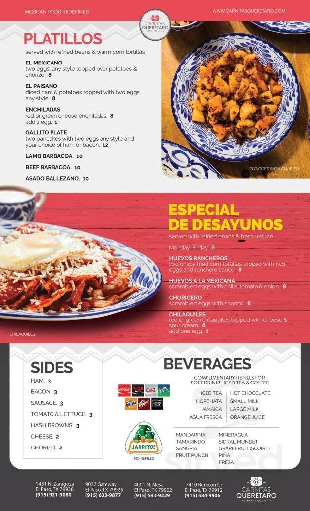 Menu For Carnitas Queretaro Mexican Restaurant In El Paso Texas