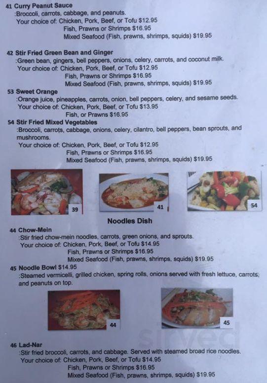 Zabb Dee Kitchen Former Vietnam Cuisine Menu In Powell River British Columbia