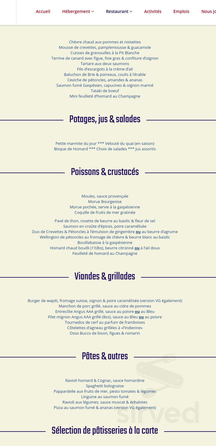 Cuisine Provencale Blanche Et Bleue hôtel la normandie menu in percé, quebec, canada