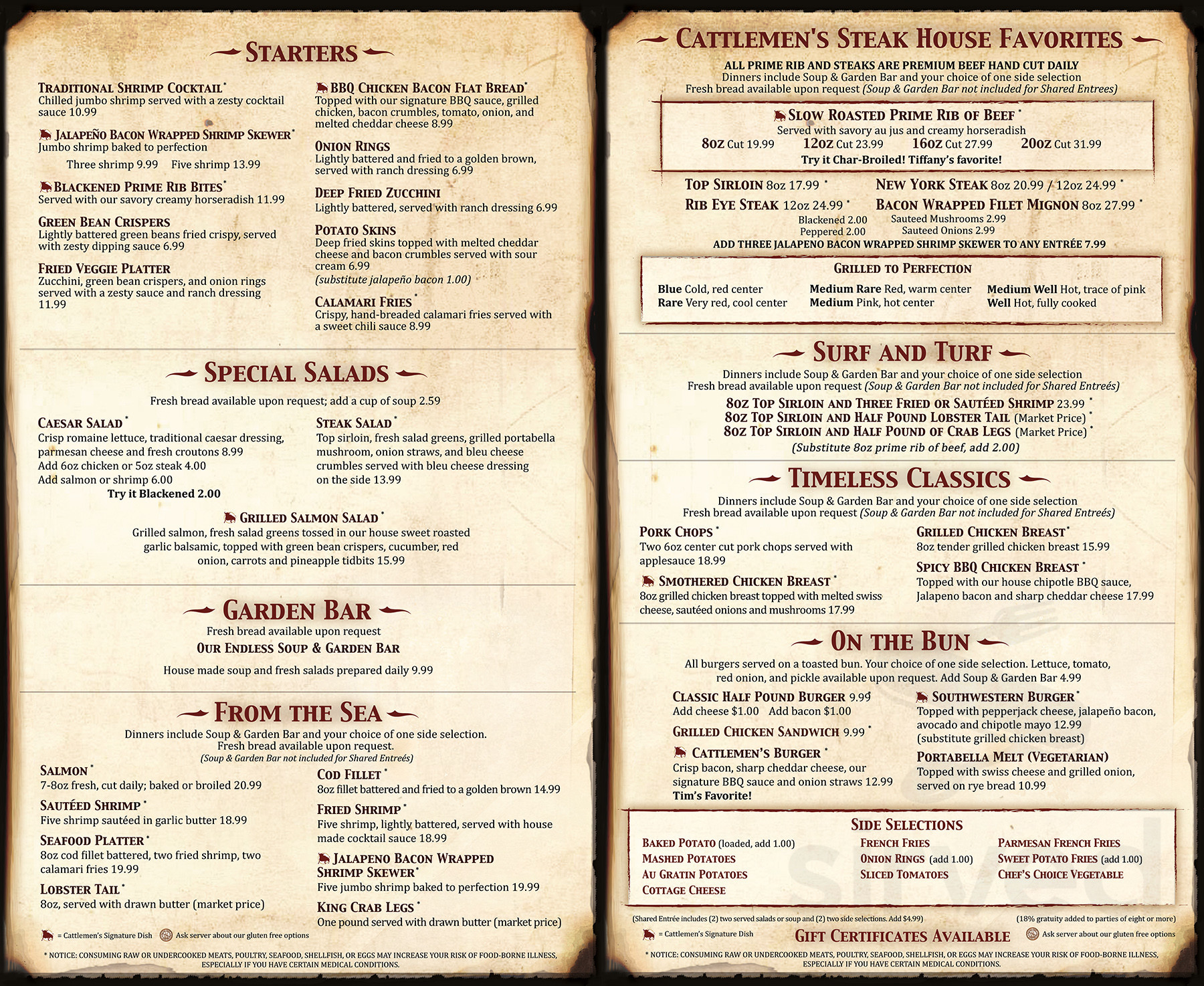 Menu for Cattlemen's Steakhouse & Lounge in Show Low, Arizona