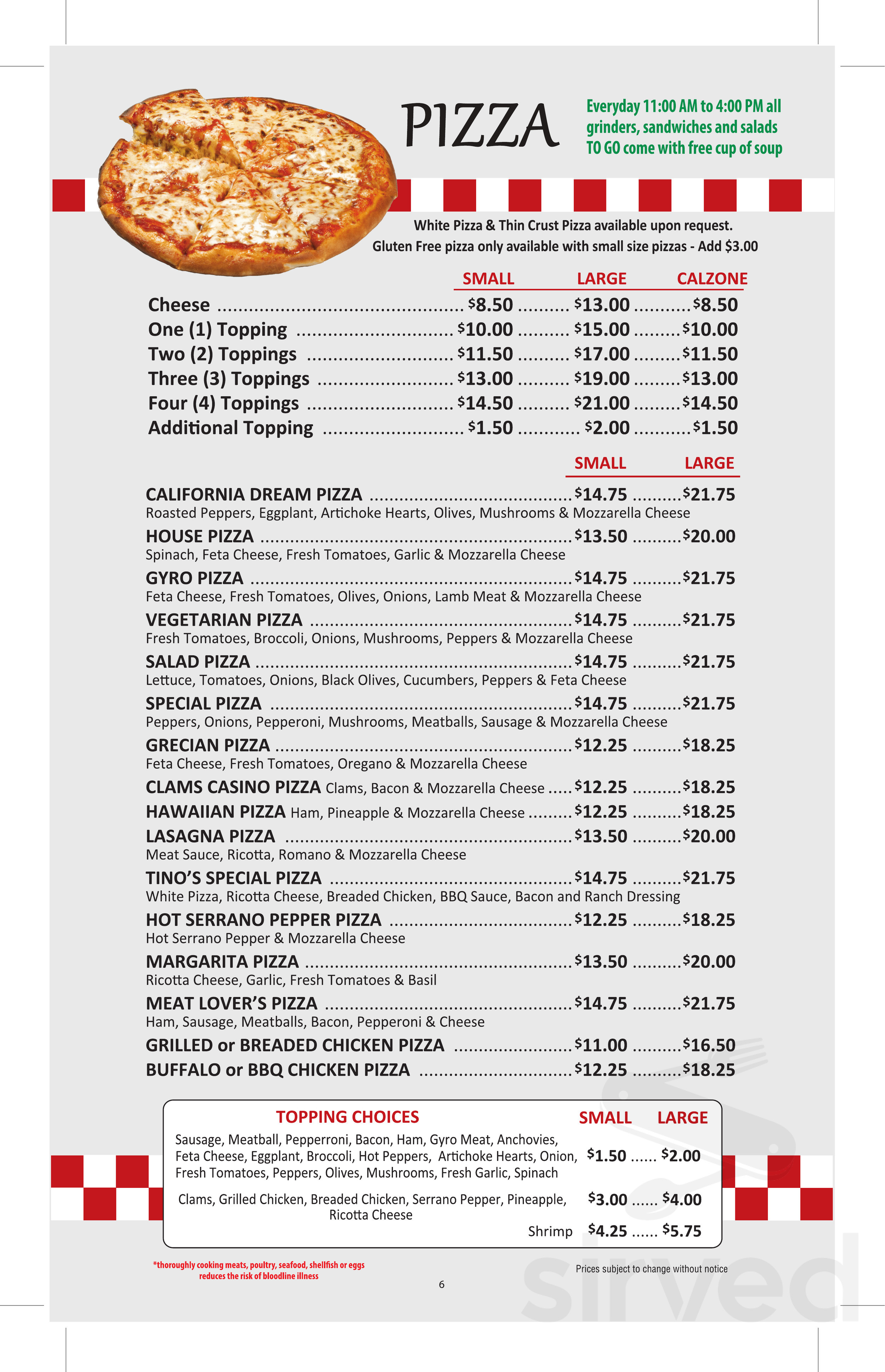 Newtown Pizza Palace Menu In Newtown Connecticut Usa