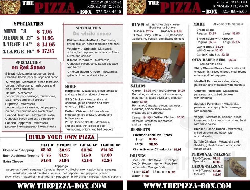 Menu For Pizza Box In Hull Massachusetts Usa