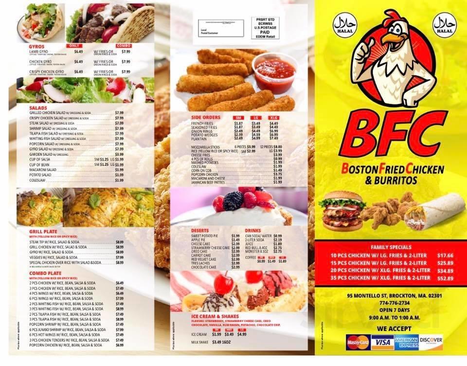 Bfc Boston Fried Chicken And Burritos Menu In Brockton Massachusetts Usa
