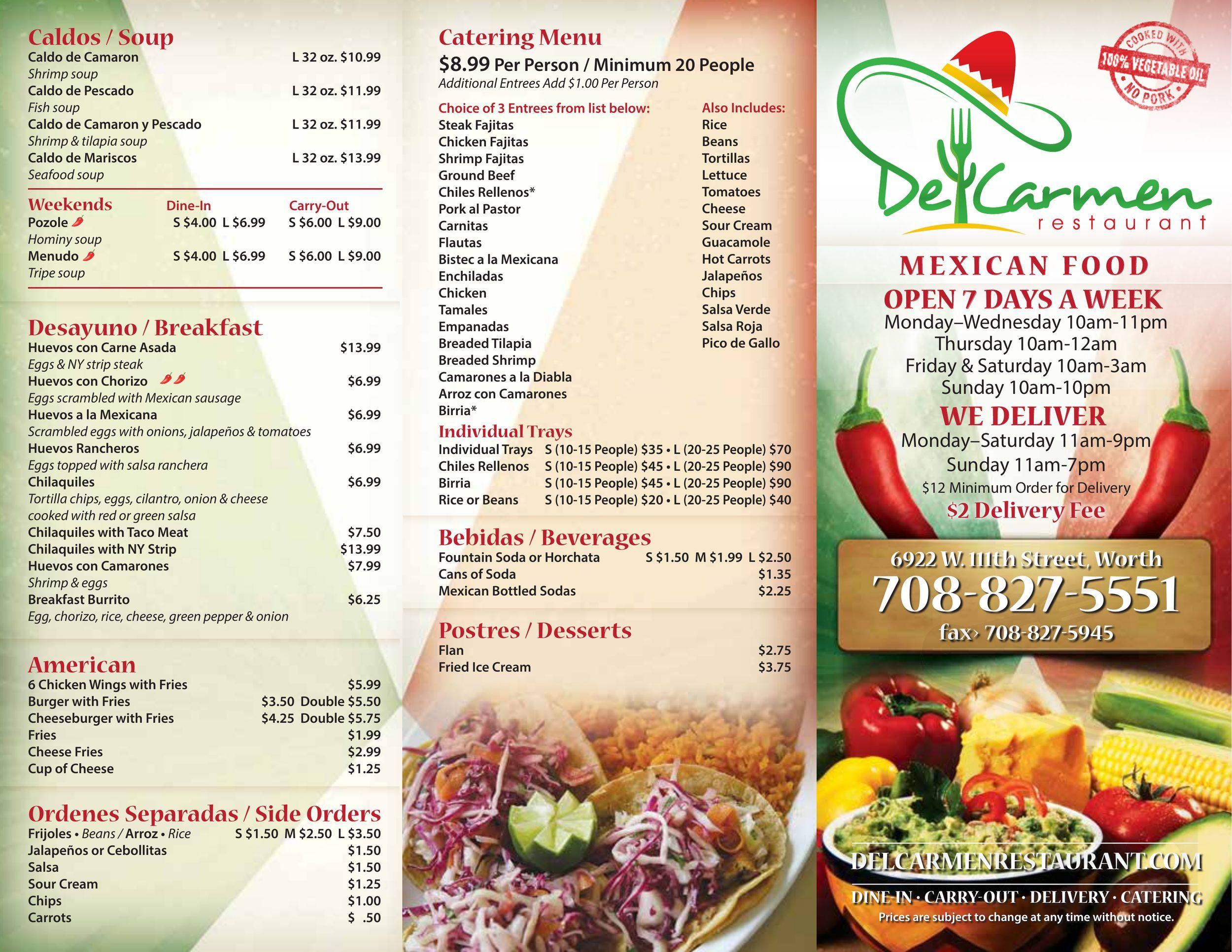 Menu for Del Carmen - MAIN MENU page 1 of 3