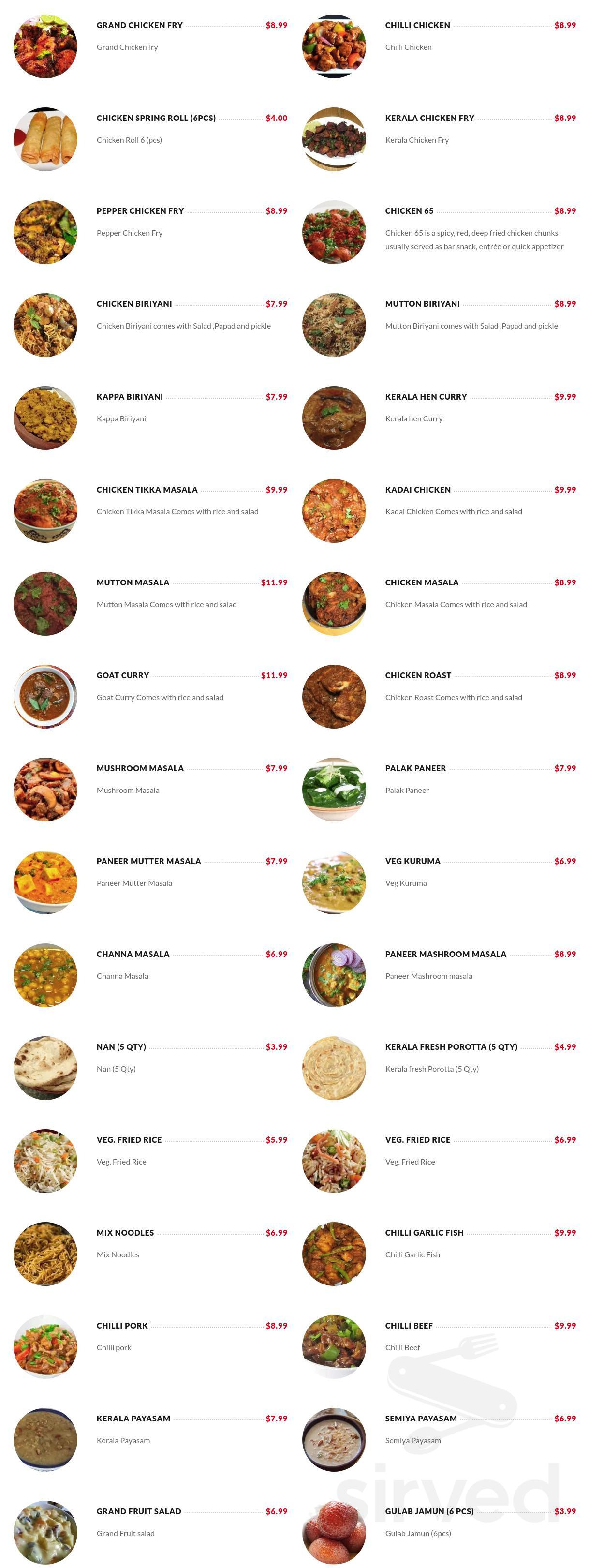 Menu For Grand Indian Kitchen In Missouri City Texas
