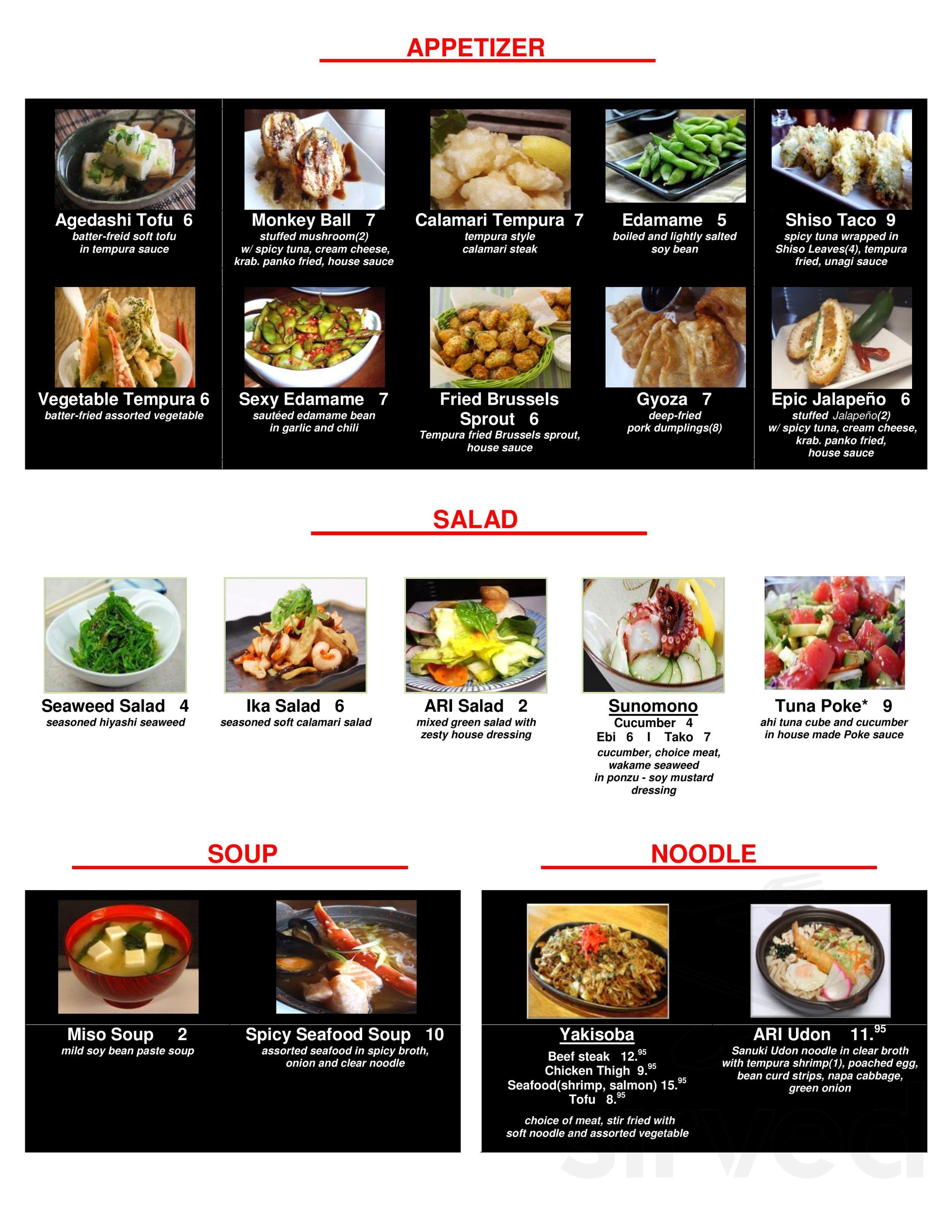Menu For Sushi Ari Japanese Restaurant In Puyallup Washington