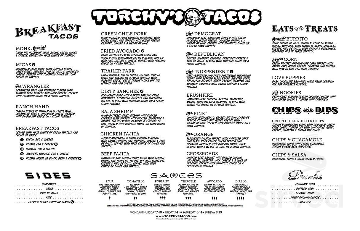 Torchy S Tacos Menu In Cedar Park Texas Usa