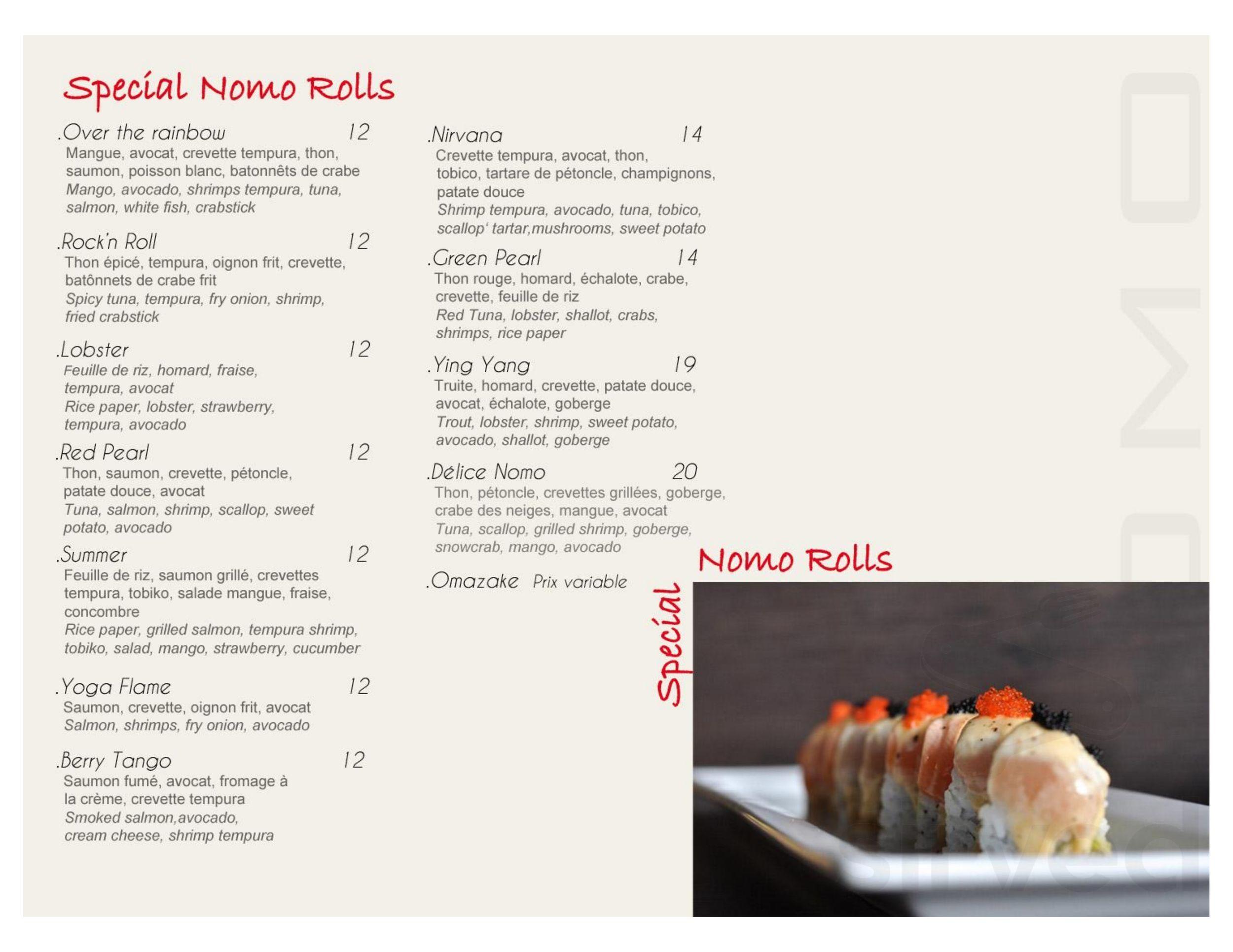 Menu for Restaurant Nomo in Dollard-des-Ormeaux, Quebec
