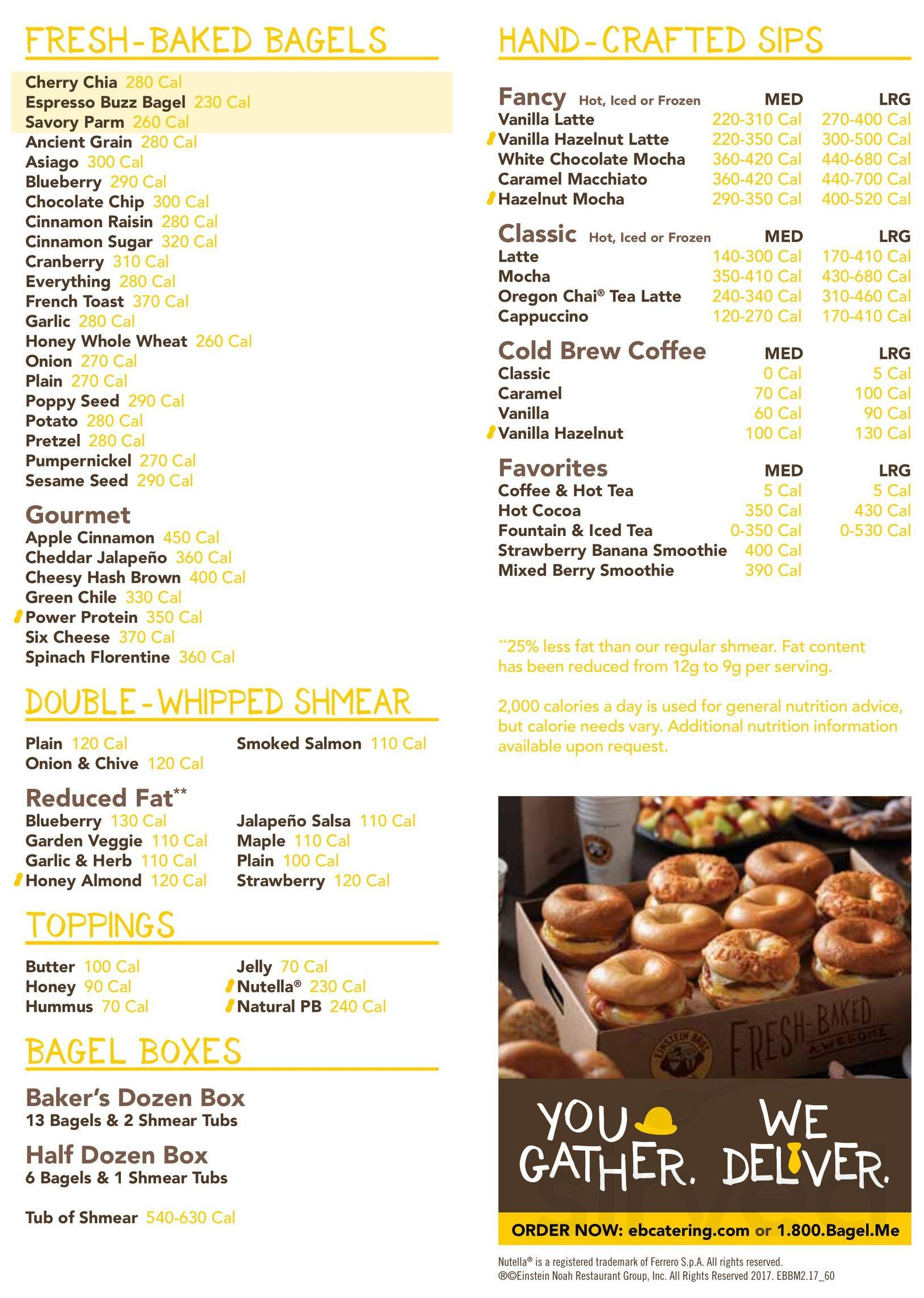 menu for einstein bros. bagels in clyde, ohio, usa