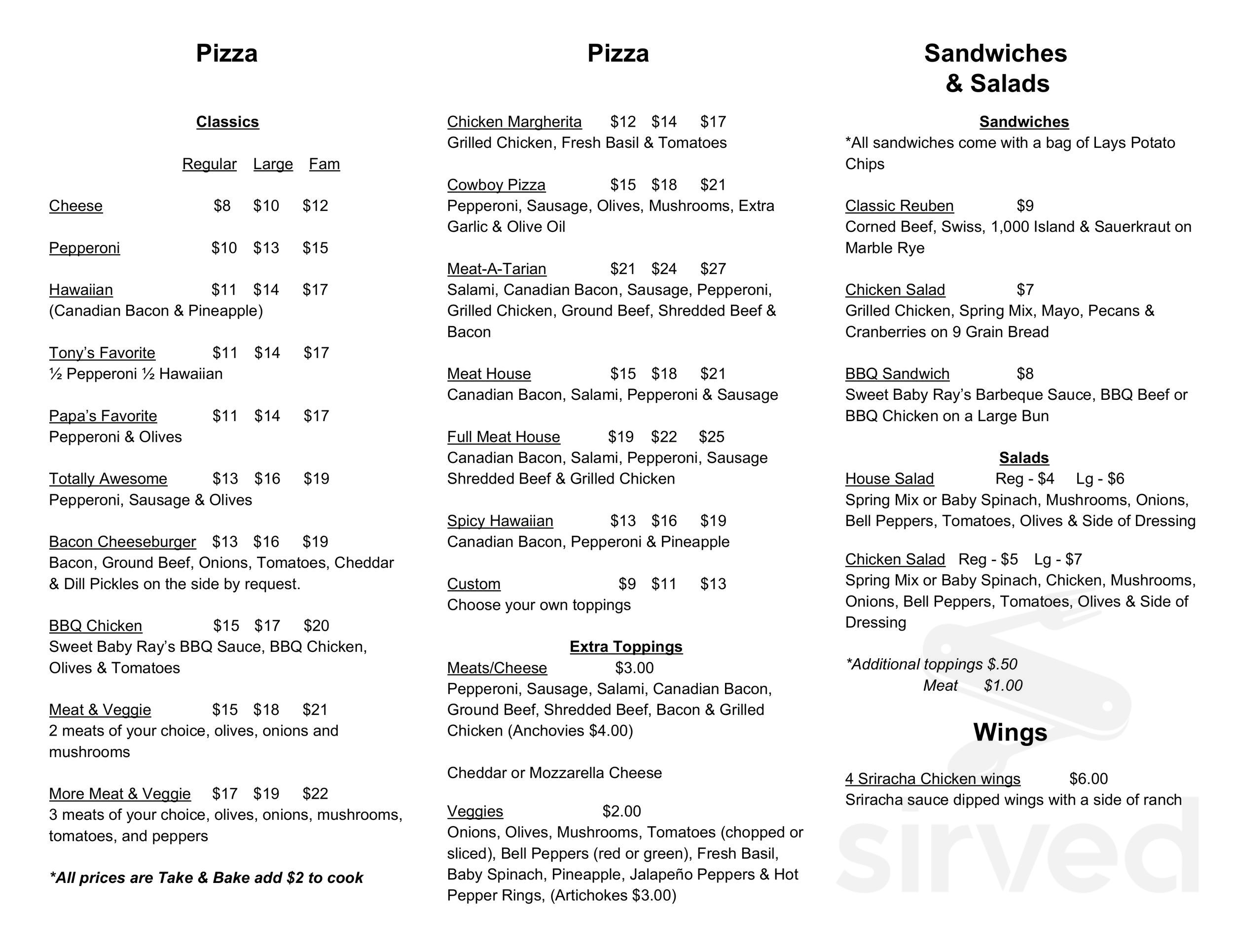 Menu for Uncle Tony's pizza in Goldendale, Washington