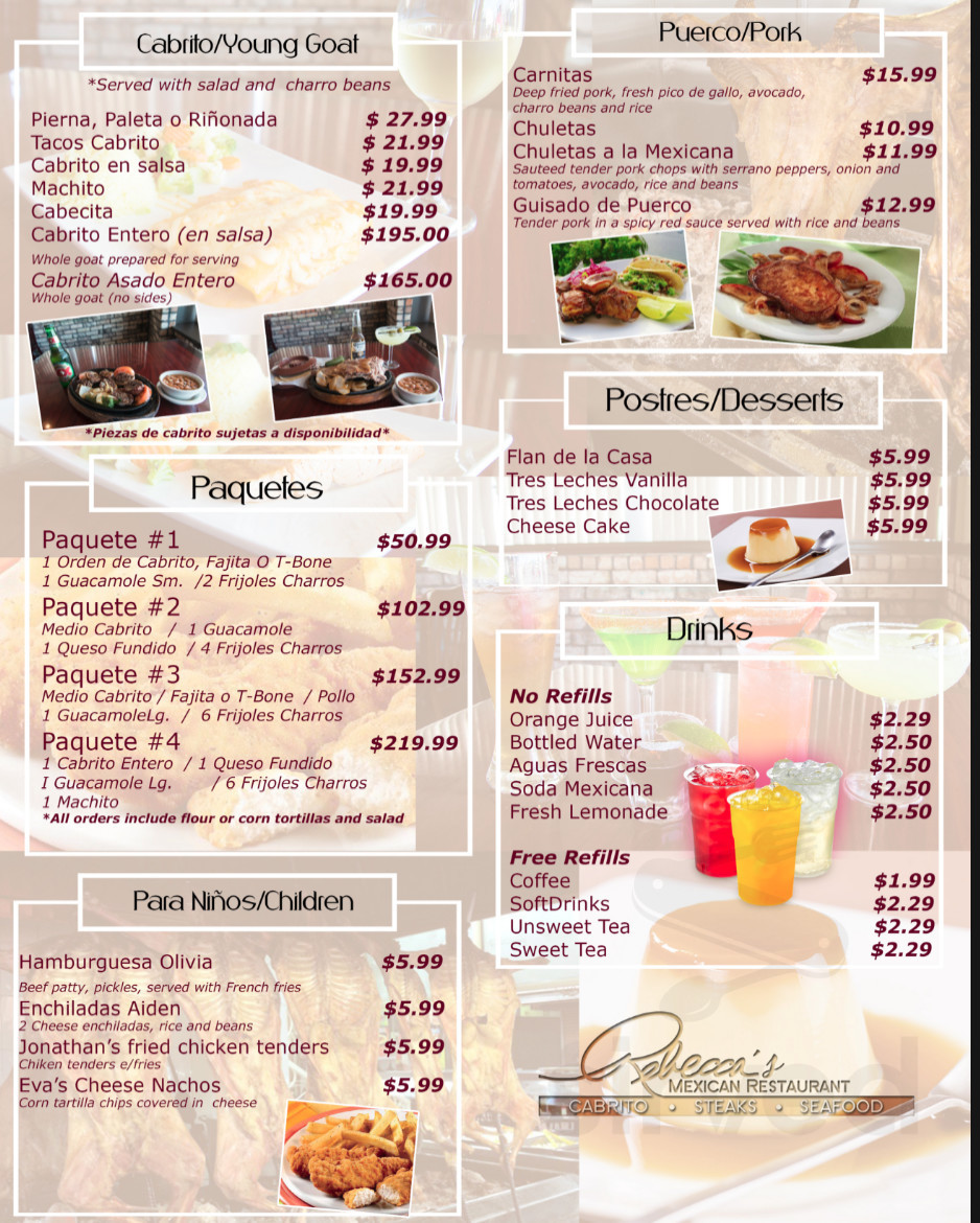 Menu For Rebecca S Mexican Restaurant In Mcallen Texas