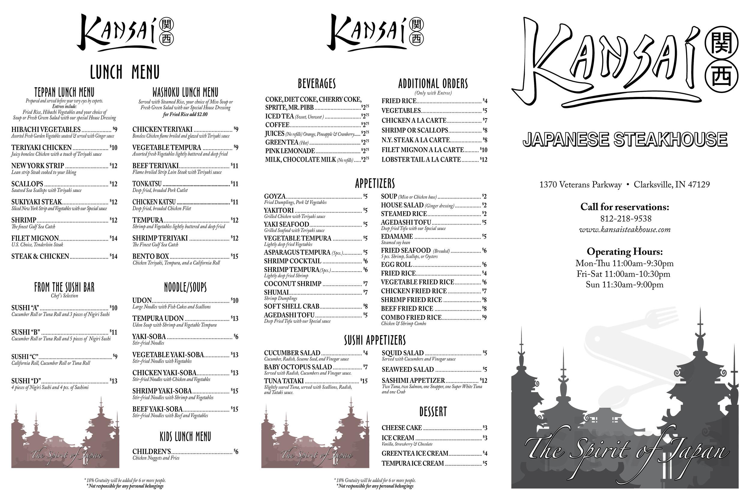 Menu For Kansai Japanese Steakhouse In Louisville Kentucky