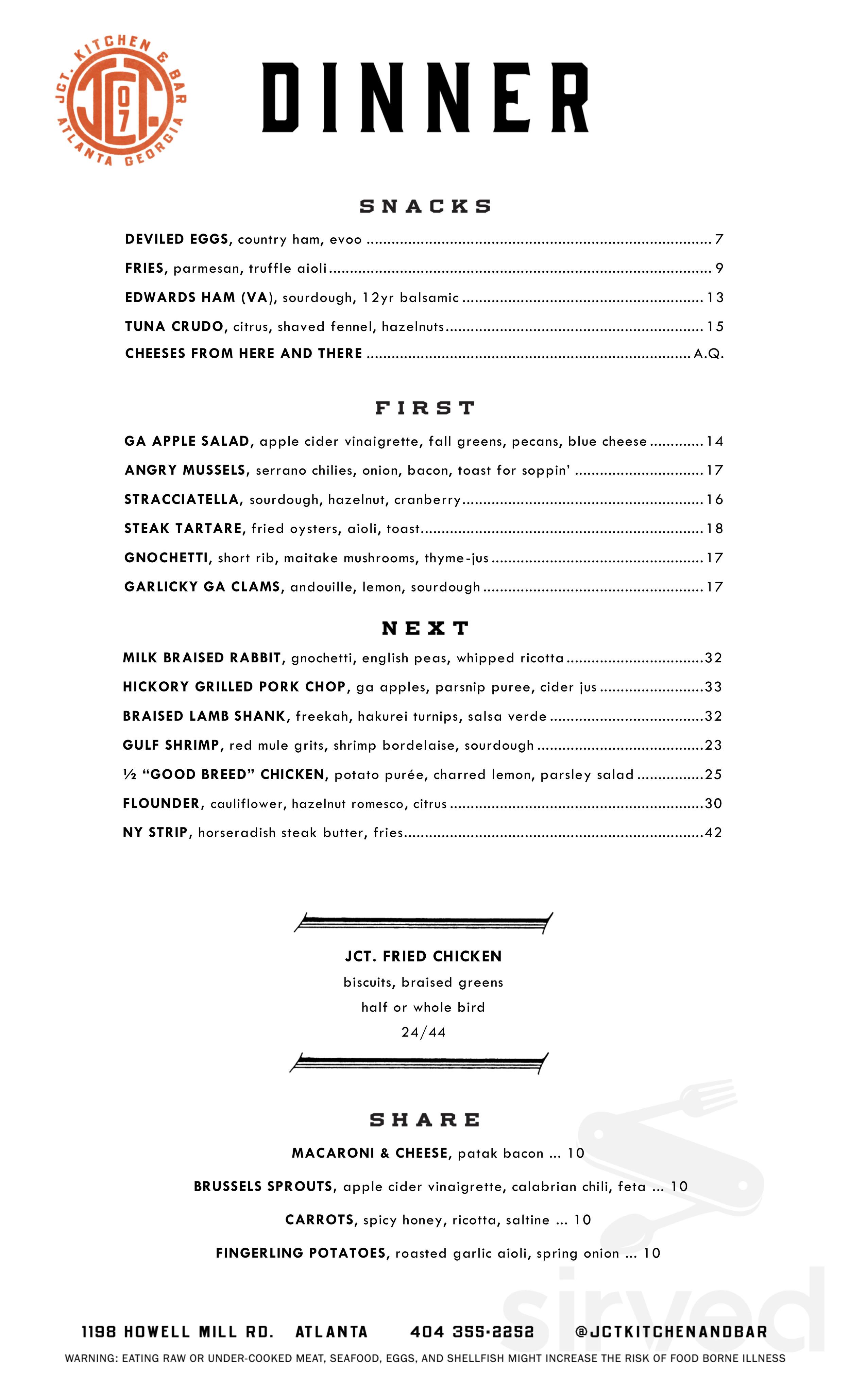 Jct Kitchen Bar Menu In Atlanta Georgia Usa
