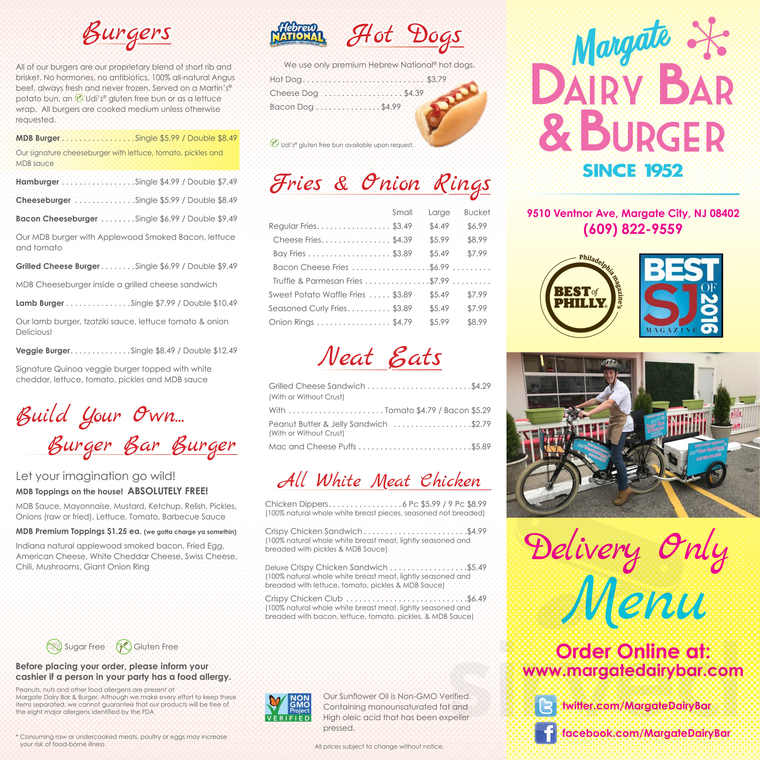 Margate Dairy Bar Burger Menu In Margate City New Jersey