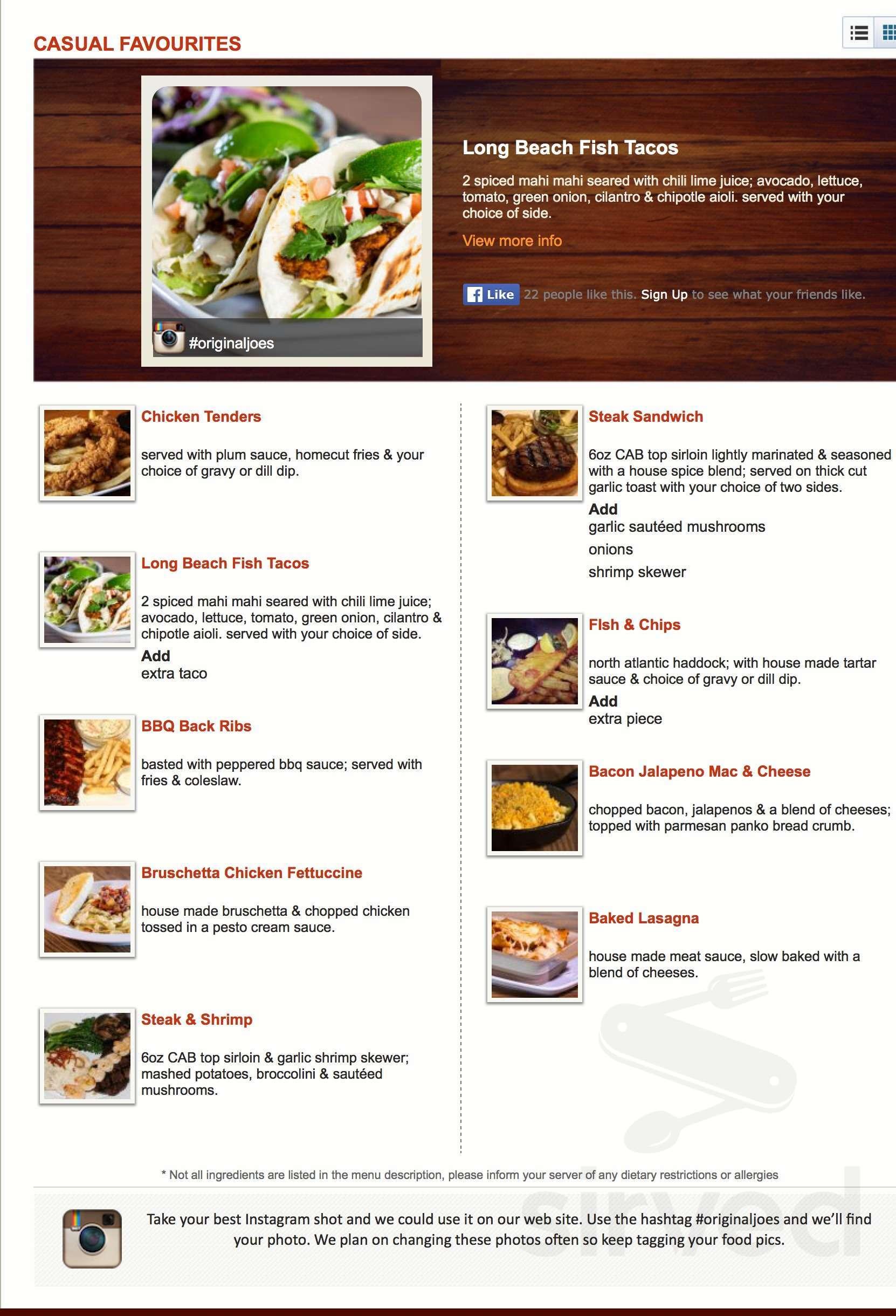 menu for original joe's in westbank, british columbia