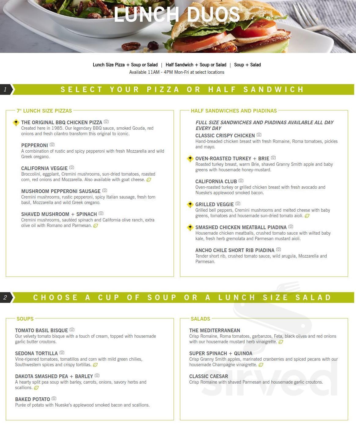Menu For California Pizza Kitchen In Encino California