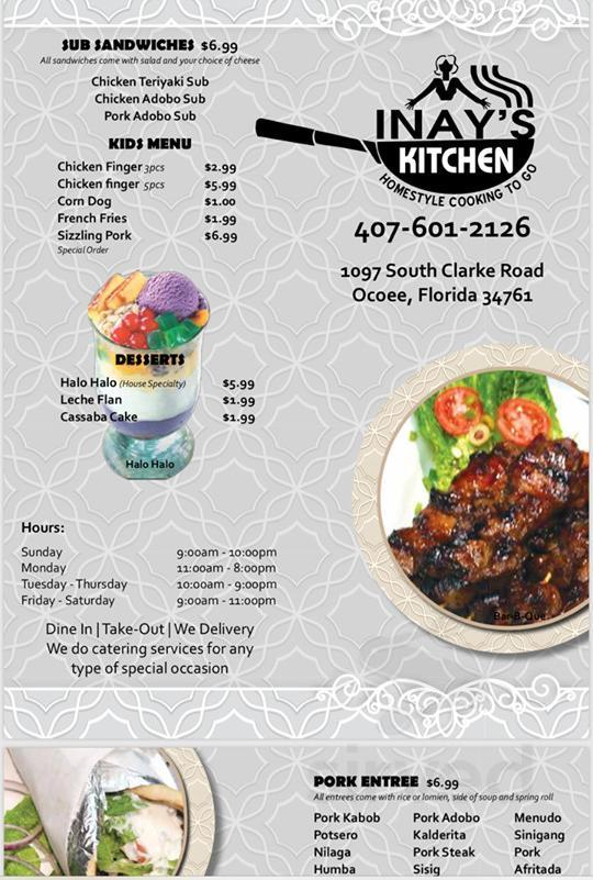 Menu For Inay S Kitchen In Ocoee Florida Usa
