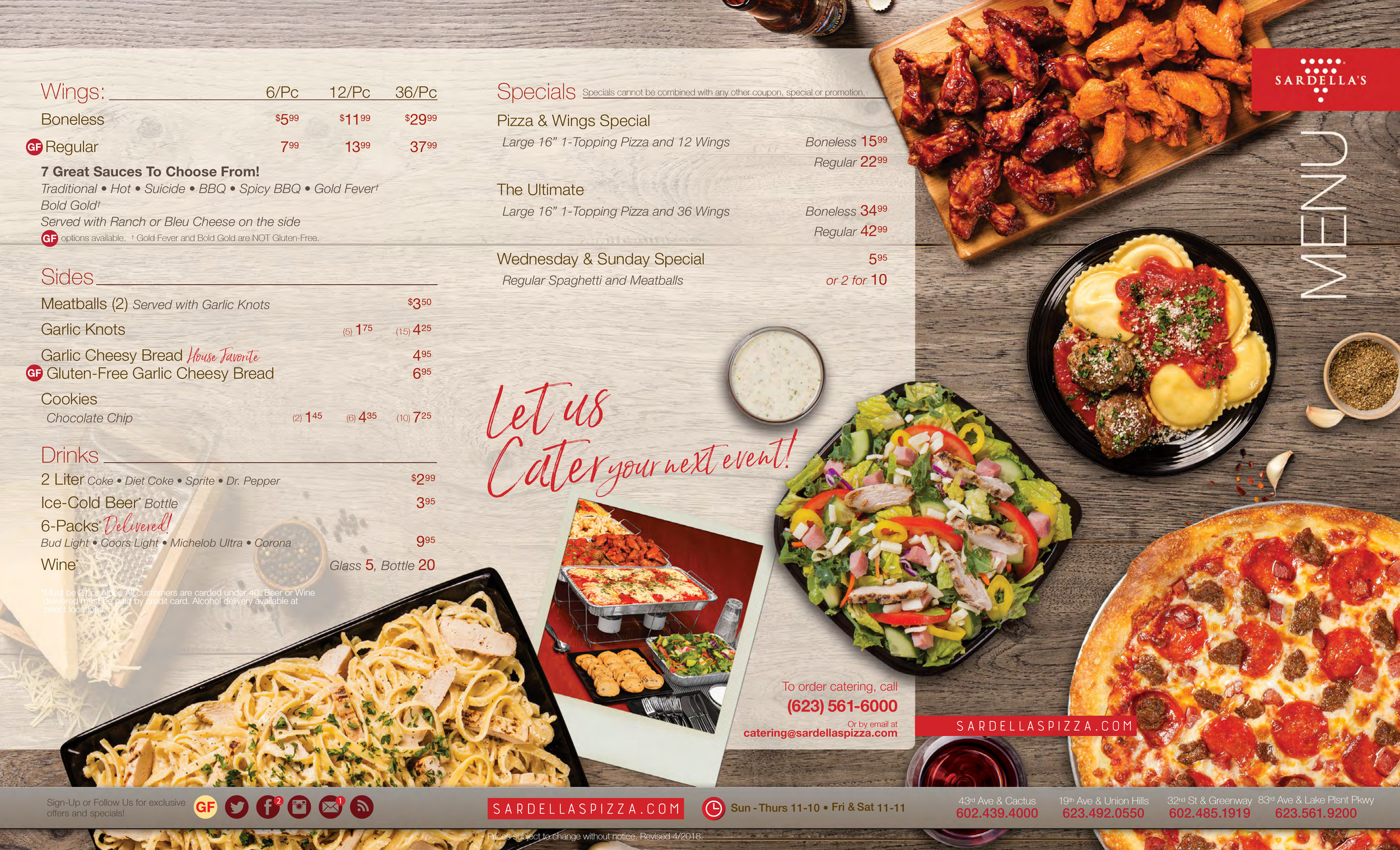 Stupendous Menu For Sardellas Pizza Wings In Phoenix Arizona Home Interior And Landscaping Elinuenasavecom