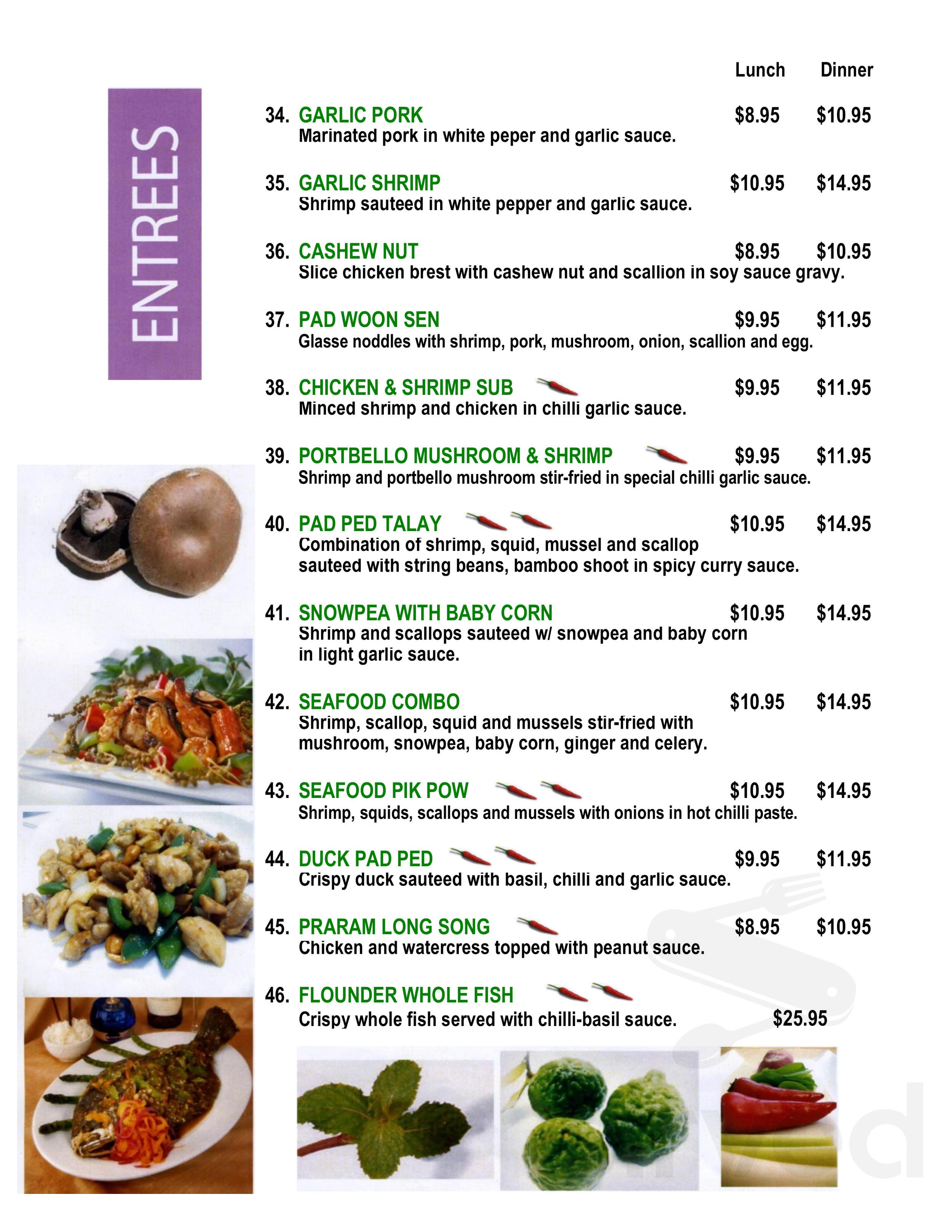 Menu For M Thai Kitchen In Edgewater Maryland Usa