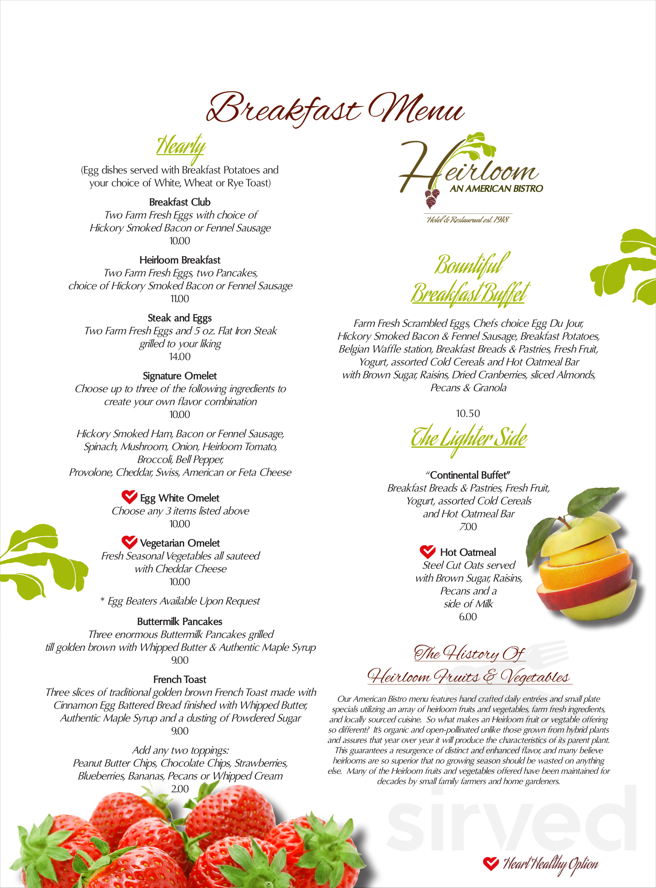 Astonishing Menu For Heirloom An American Cafe In Camp Hill Pennsylvania Download Free Architecture Designs Photstoregrimeyleaguecom