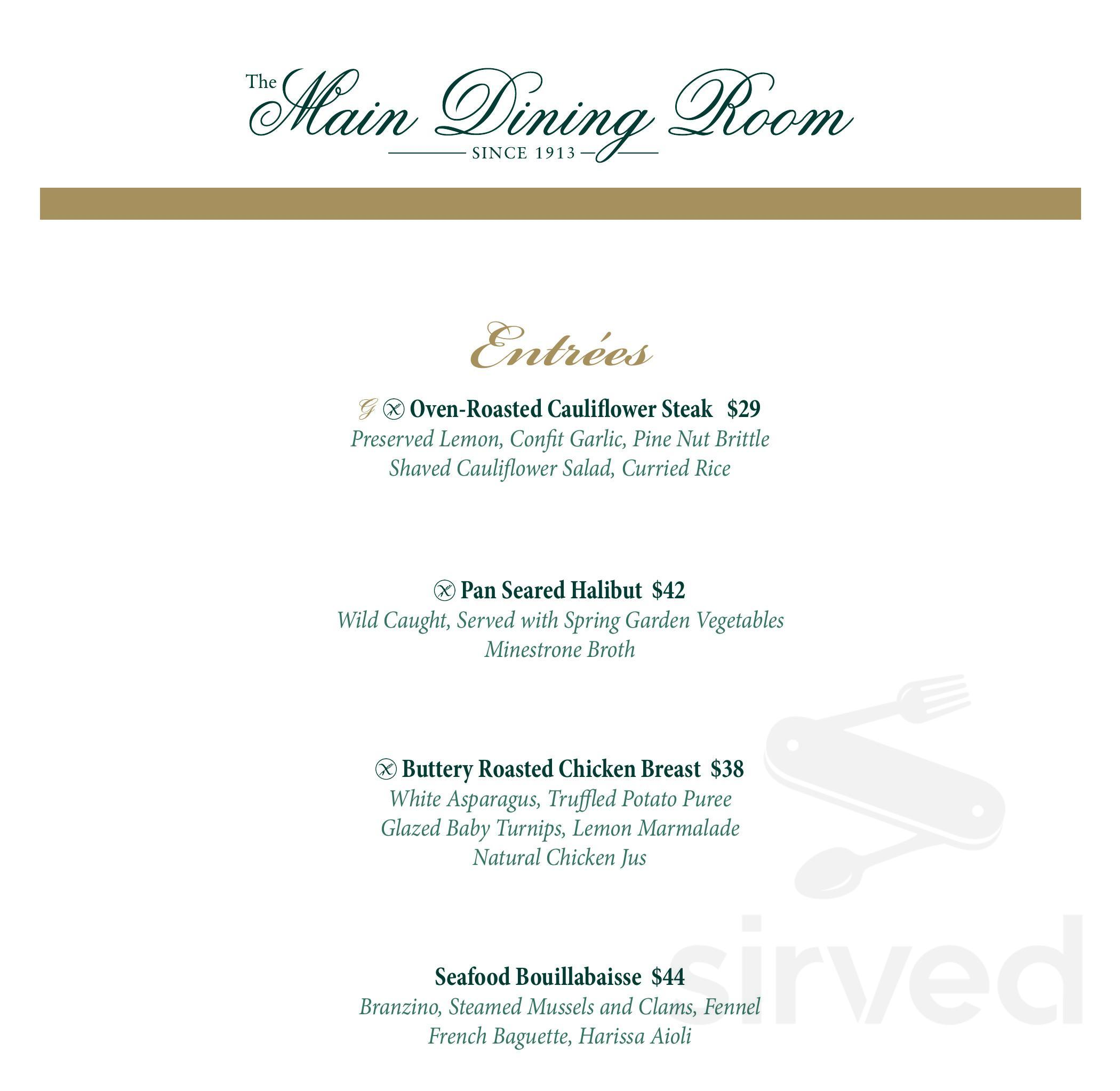 Menu for The Main Dining Room at The Greenbrier in White
