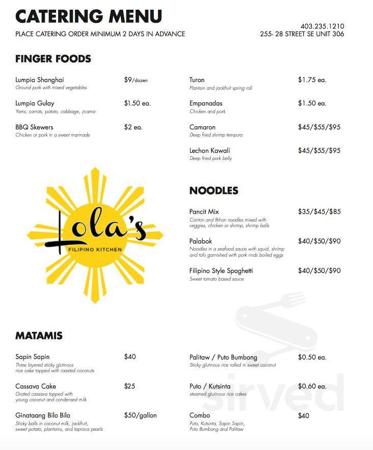 Lola S Filipino Kitchen Formerly Lolit S Takeout Menu In Calgary Alberta